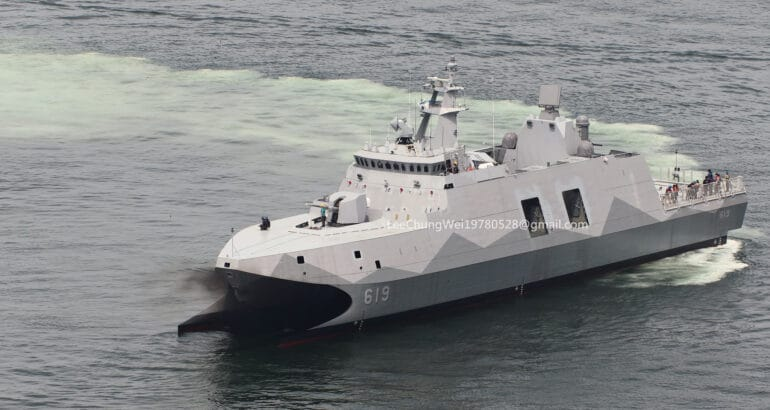 """ROC Navy Tuo Chiang-class corvette """"Ta Chiang"""" during sea trials"""