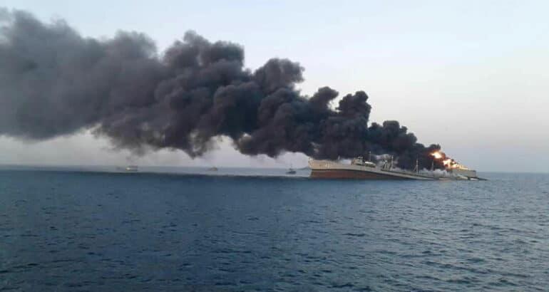Iranian Replenishment Vessel 'Kharg' Sank After A Fire Broke Out