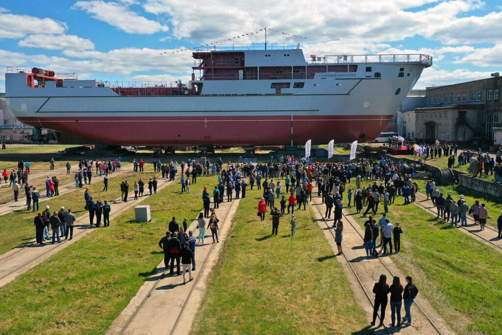 Russian shipyard launches Project 20360M armament support ship Gennady Dmitriyev
