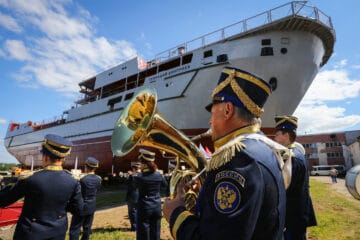Russian shipyard launches first Project 20360M armament support ship