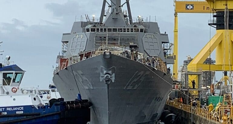 U.S. Navy Launches First DDG 51 Flight III Guided Missile Destroyer