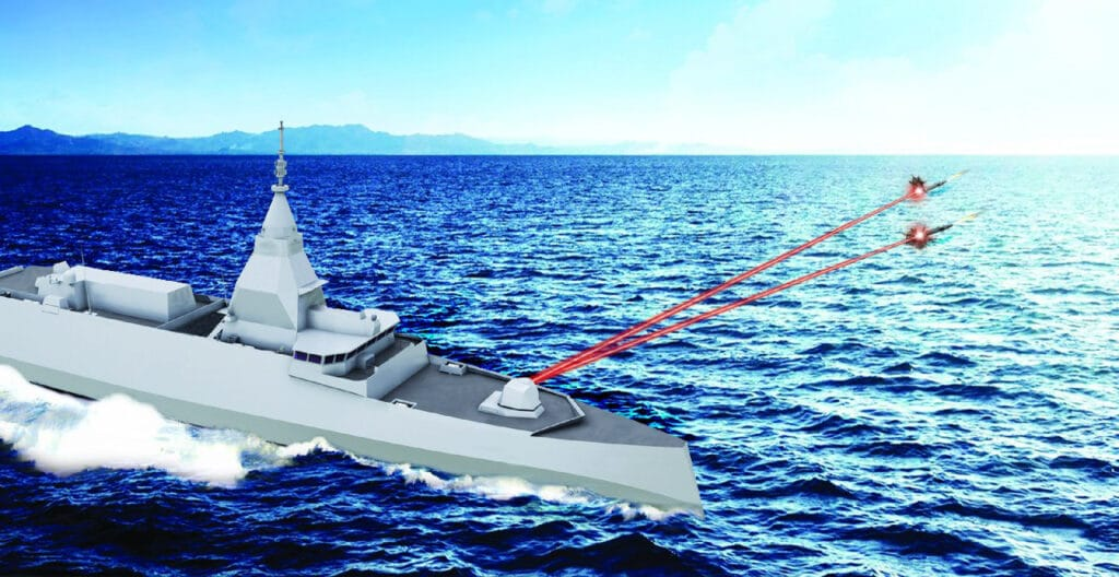 French Navy FDI frigate fitted with a laser weapon system