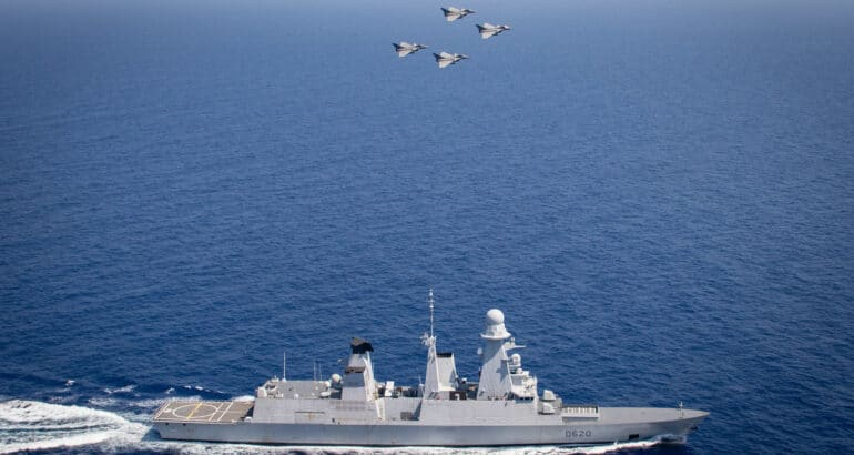 French Navy's Destroyer Conducts Exercise With Rafales In Eastern Mediterranean