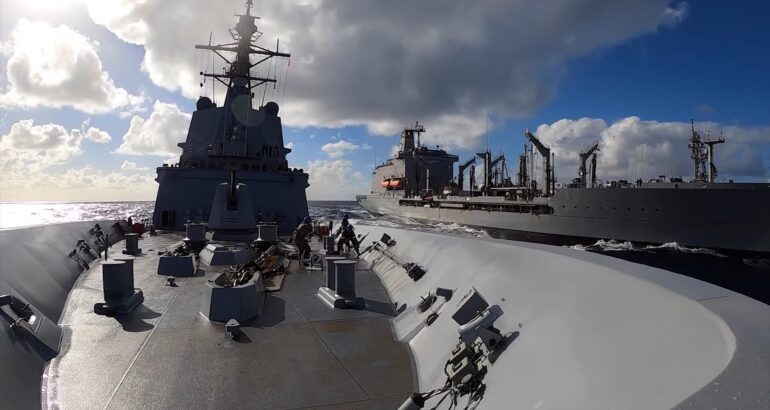 Australian 'HMAS Brisbane' Conducted Replenishment At Sea For The First Time