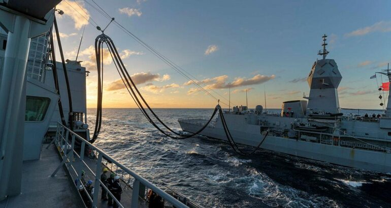 Royal Australian Navy HMAS Supply Conducted Her First Replenishment At Sea