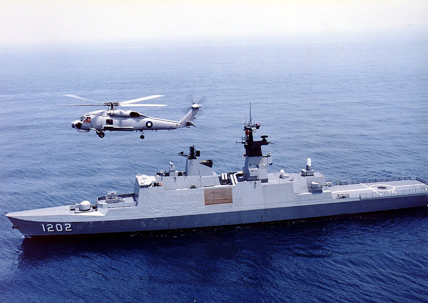 ROC (Taiwan) Navy Kang Ding frigate (PFG3-1202) with S-70C helicopter.