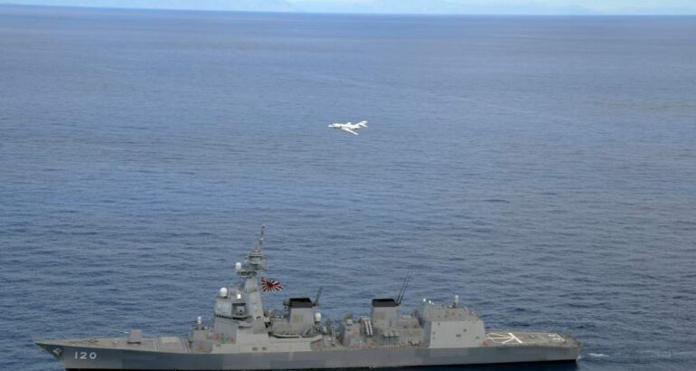 JMSDF Asahi-class Destroyer in Air Defense Drill with French Navy