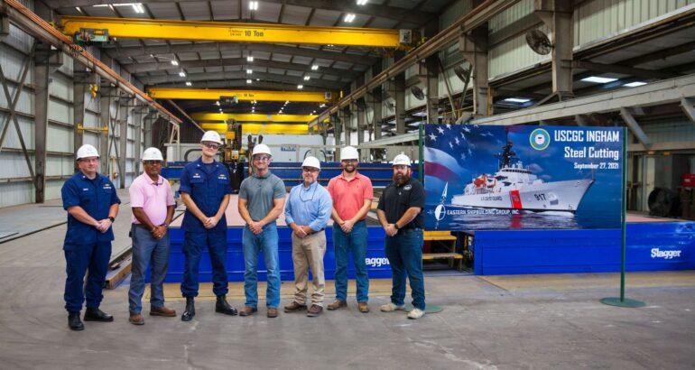 Eastern Shipbuilding Cut Steel for USCG's 3rd Offshore Patrol Cutter
