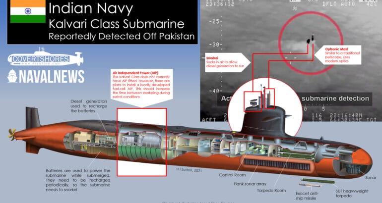Indian Navy Kalvari Class Submarine Detected Off Pakistan Coast