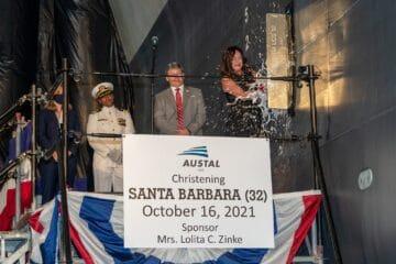 US Navy Christens 32nd Littoral Combat Ship Santa Barbara